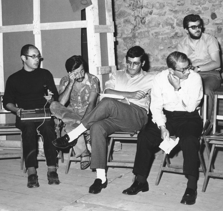"""The Assembly during theexhibition """"Arte Povera + Azioni Povere,"""" Amalfi, Italy, 1968. From left:Tommaso Trini, Achille Bonito Oliva, Germano Celant, Filiberto Menna, Marcello Rumma (top right). Courtesy Archivio Lia Rumma, Naples."""