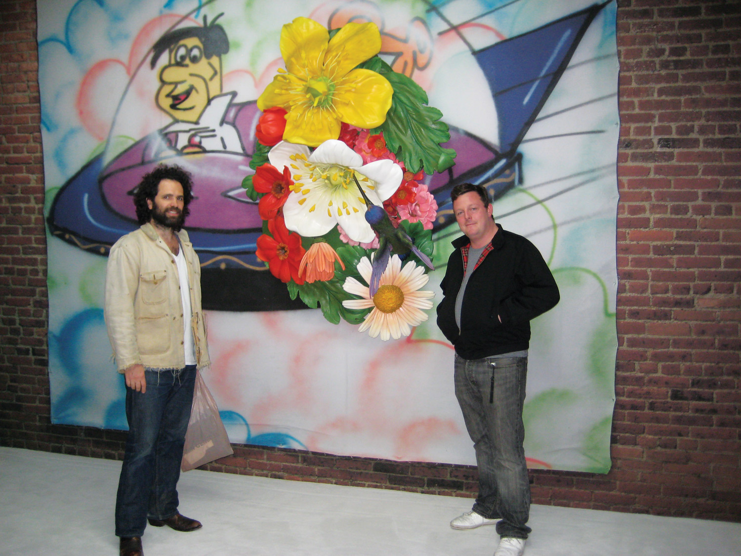 """Gavin Brown (left) and Urs Fischer at the opening reception of """"Who's Afraid of Jasper Johns?"""" at Tony Shafrazi Gallery, New York 2008. Courtesy Tony Shafrazi Gallery, New York. Photo: Mark Pasek."""