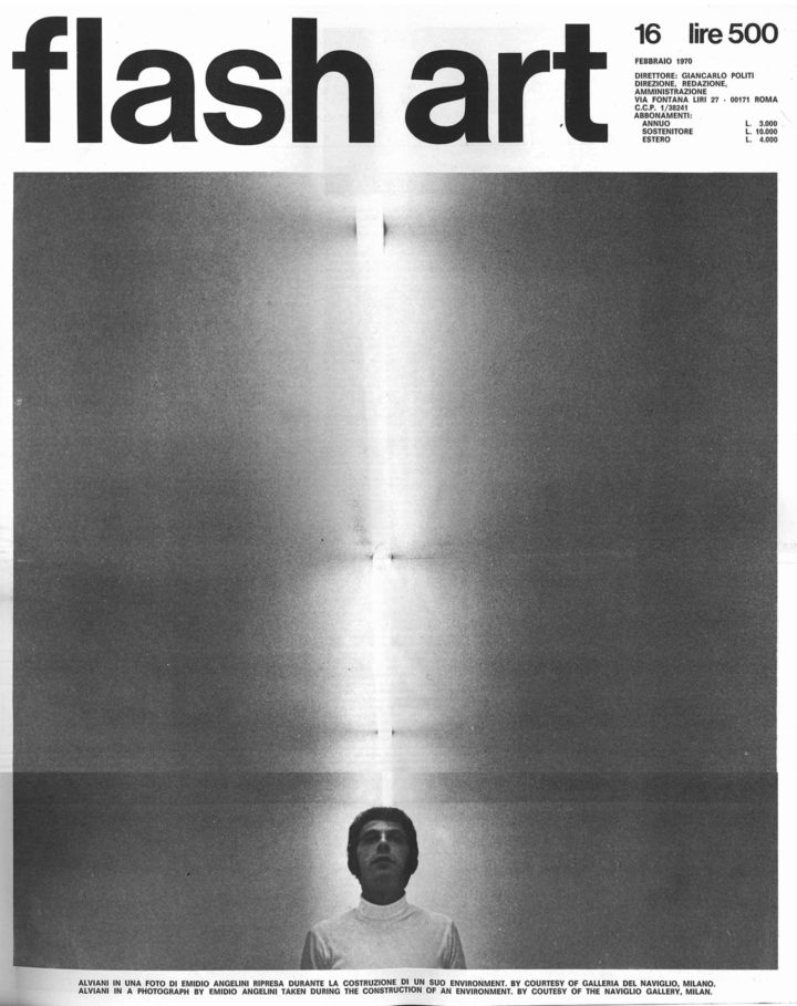 Flash Art no. 16, February 1970. Cover: Getulio Alviani during the construction of an environment