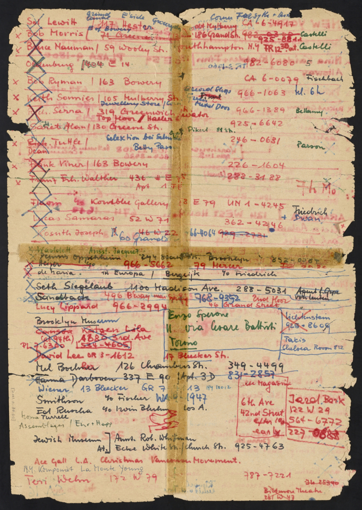 Back of Harald Szeemann's address list for his visit to New York, 1968