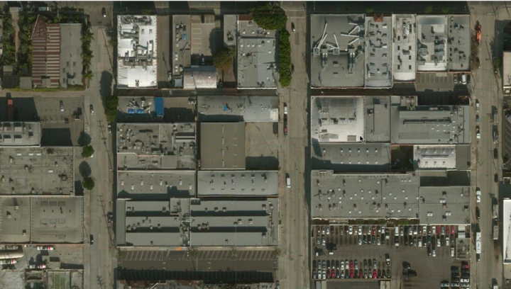 Bing Satellite image of Matthew Marks Gallery, Los Angeles.