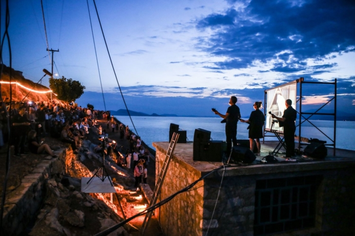 "Opening performance for David Shrigley ""Laughterhouse"" at the Deste Foundation Slaughterhouse on Hydra, Greece"
