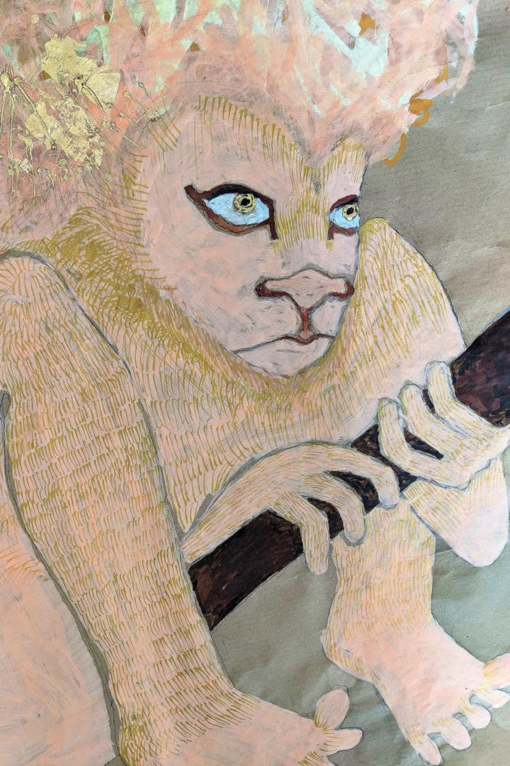 Jesse Darling, Lion in wait for Jerome and his medical kit, detail 2018