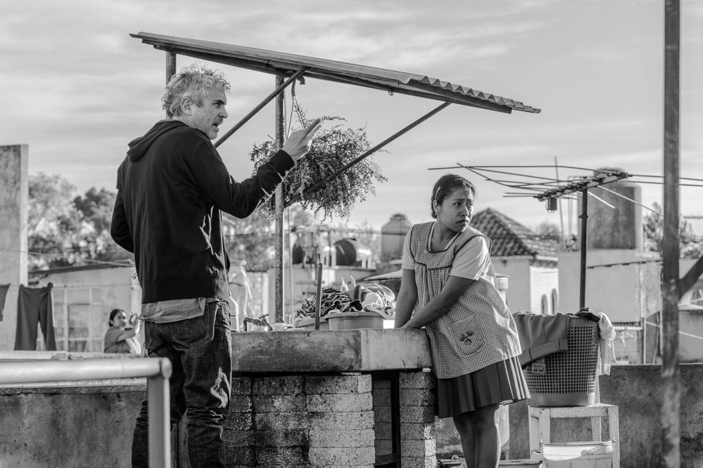 Yalitza Aparicio and director Alfonso Cuarón behind the scenes of ROMA